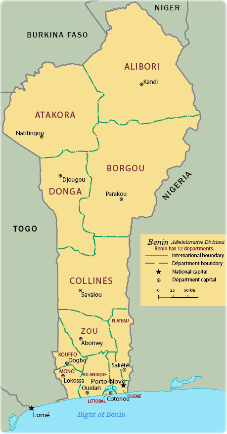 Map of Benin   Travel Africa