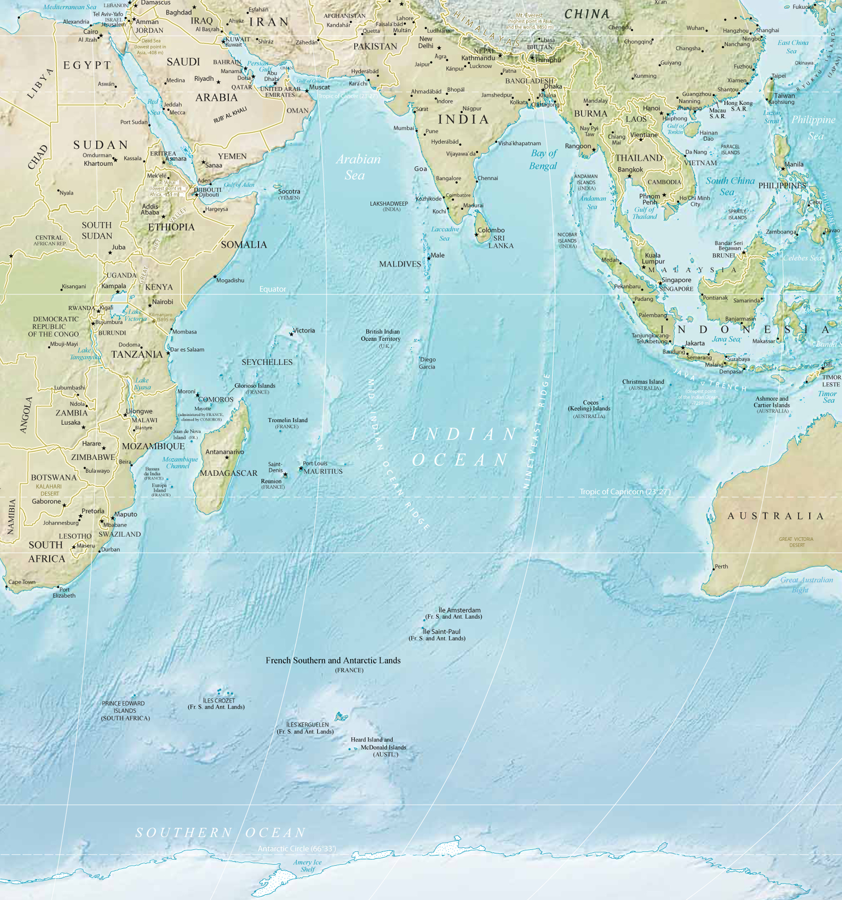Map Of Indian Ocean Islands Countries - Mauritius location in world map