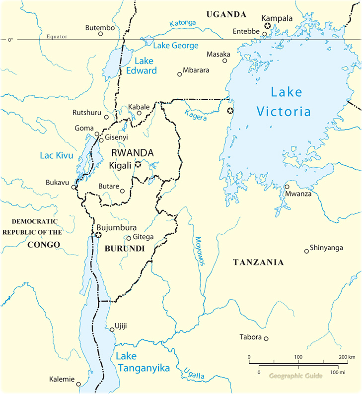 Africa Map Lakes.Map Of The Central Africa Travel Guide