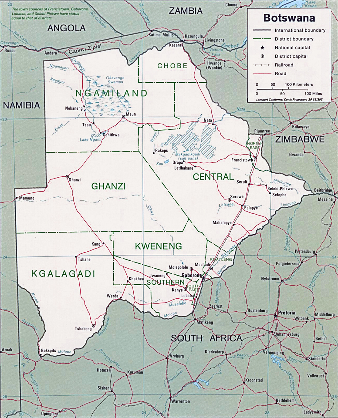 Map of Botswana Travel Africa