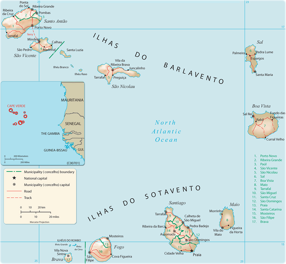 Map of Cape Verde Cabo Verde Travel Africa