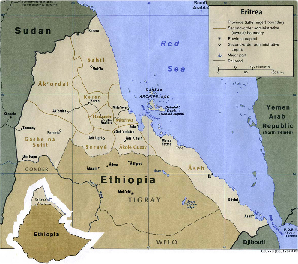 Map of Eritrea Travel Africa