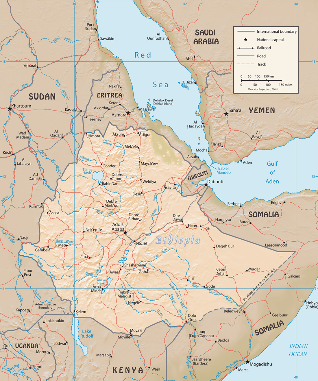 Map of Ethiopia Travel Africa