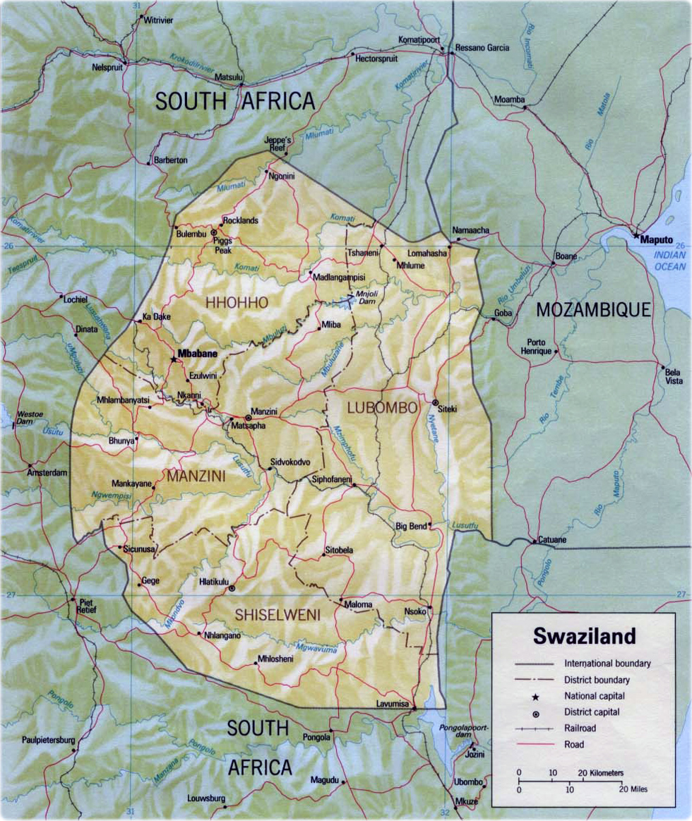 Map Of Swaziland Travel Africa - Swaziland map