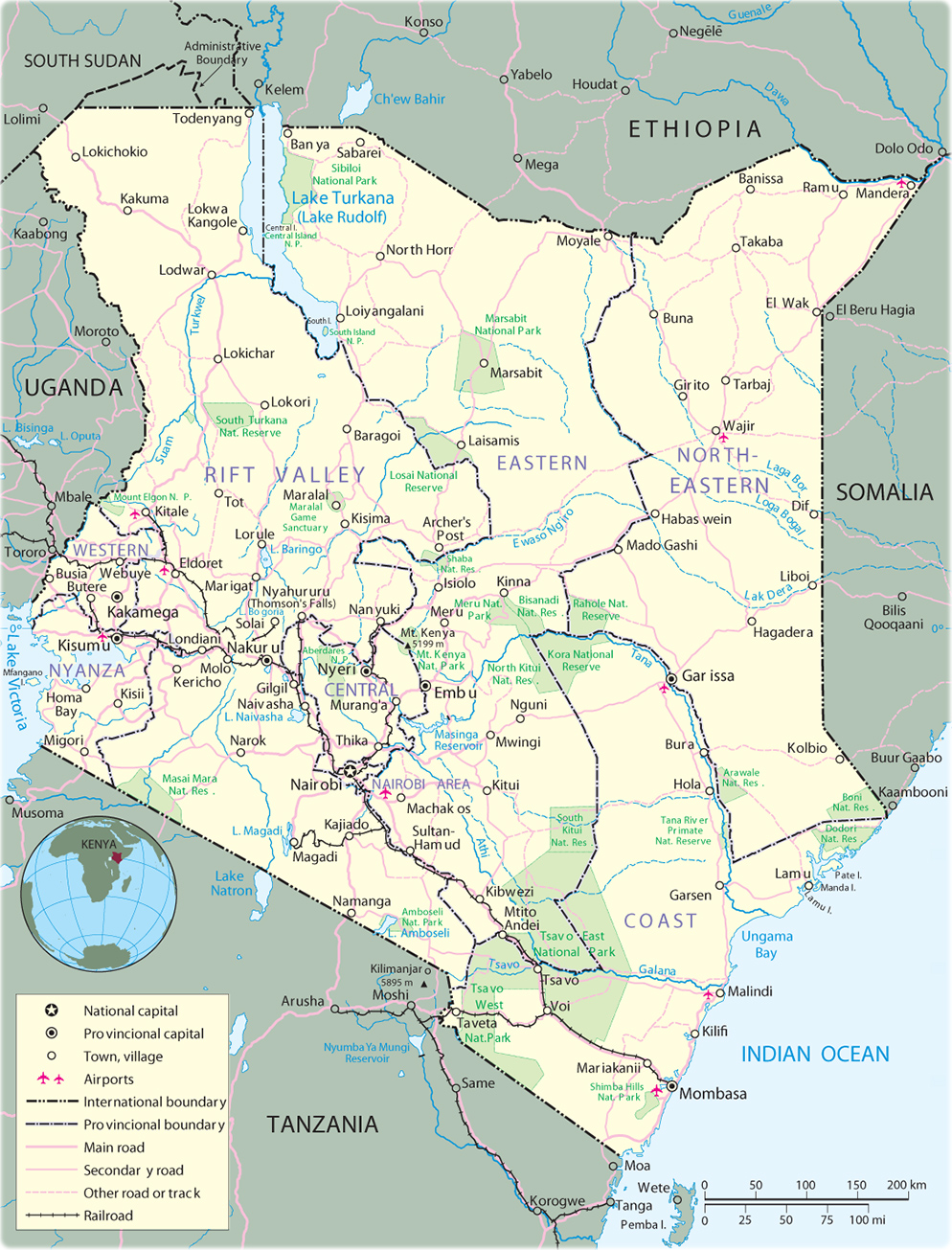 Map of Kenya - Nairobi - Travel Africa