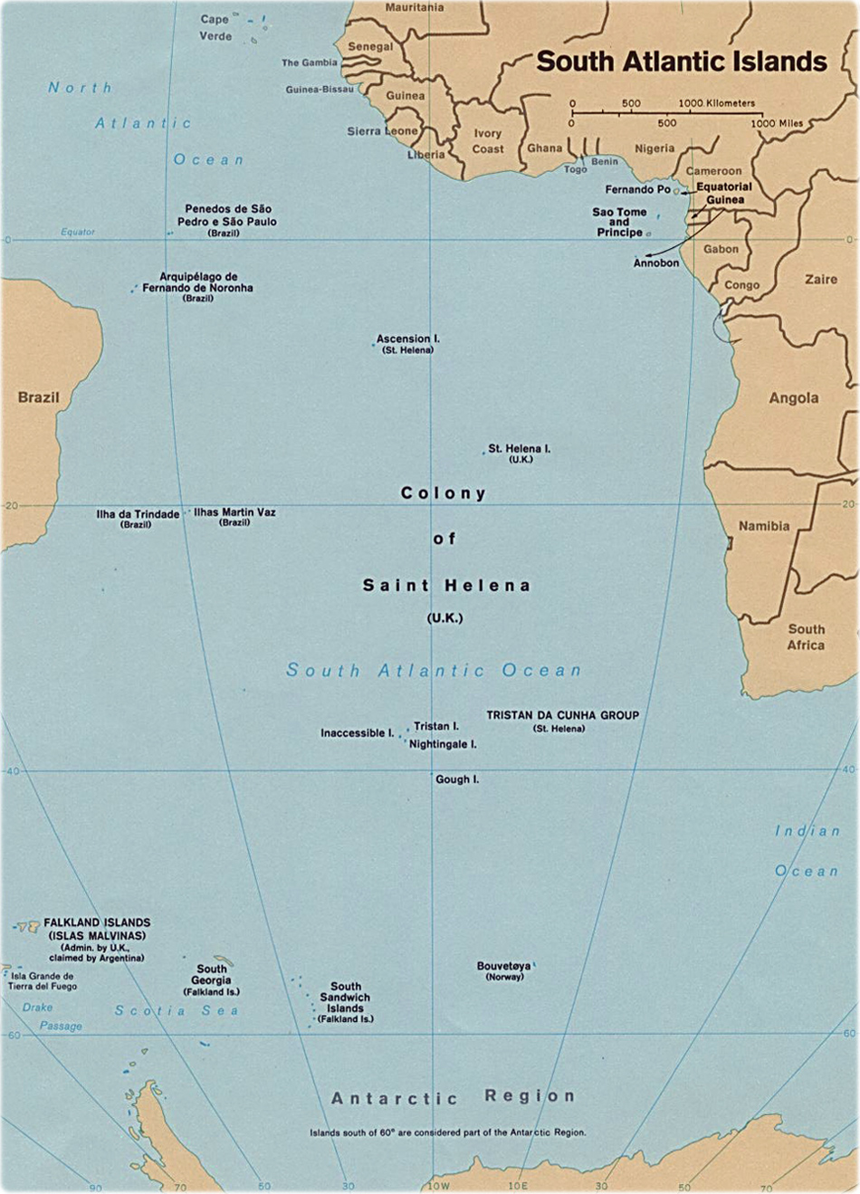 . map of the south atlantic ocean islands