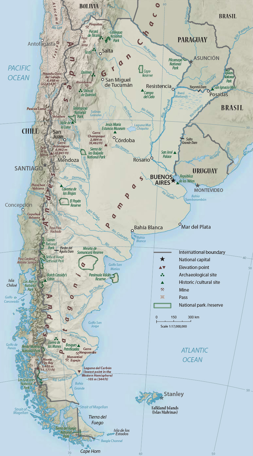 Physical Map Of Argentina - Physical map of argentina