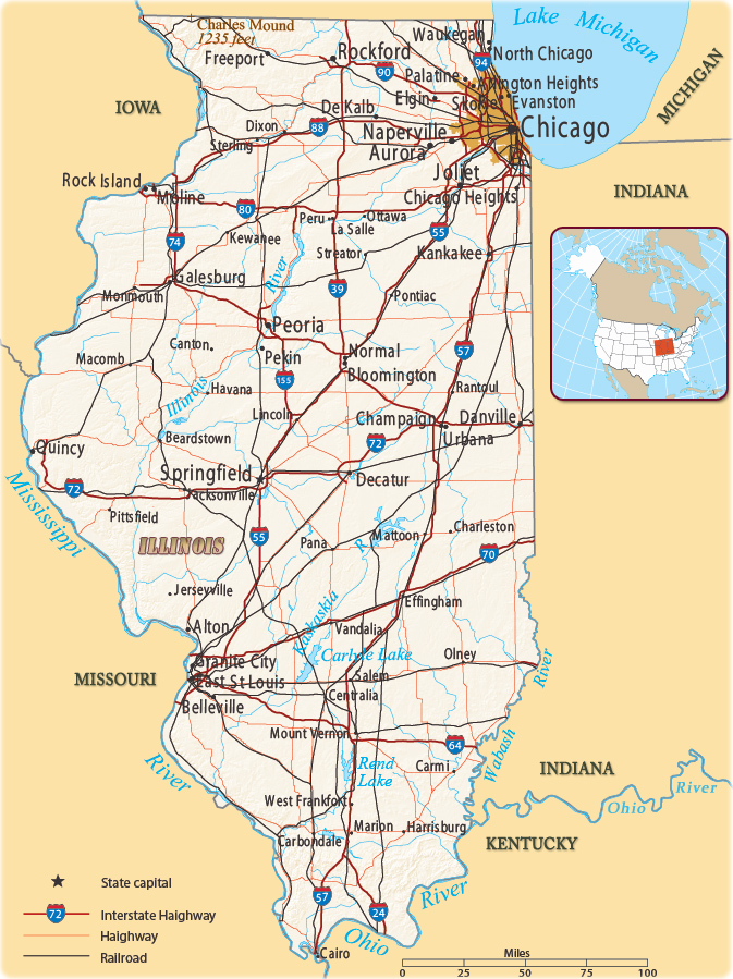 Illinois On A Map Of The Us Map of Illinois   USA