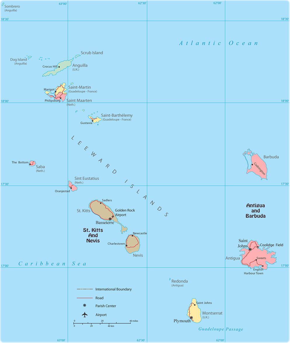 caribbean map leeward islands
