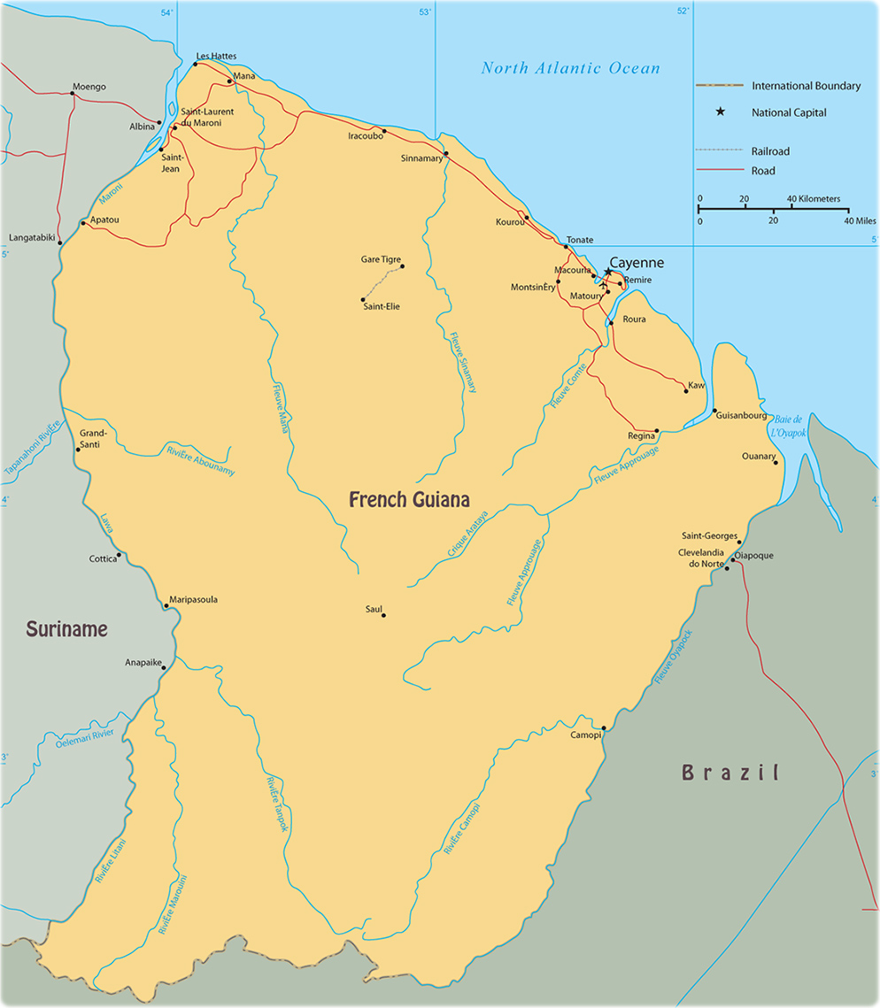 Map of French Guiana Cayenne