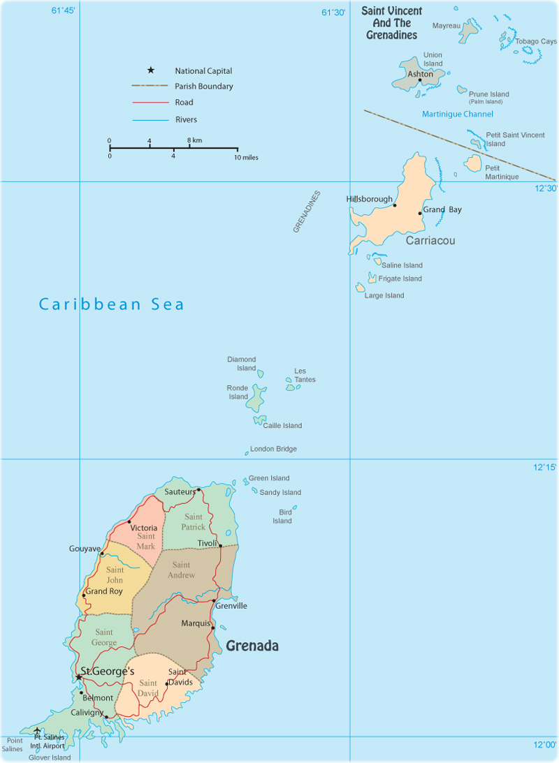 Political Map of Grenada Saint Georges