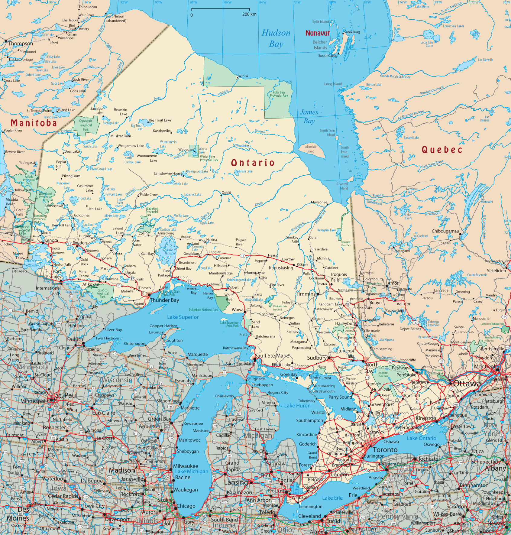 Map Of Ontario Canada