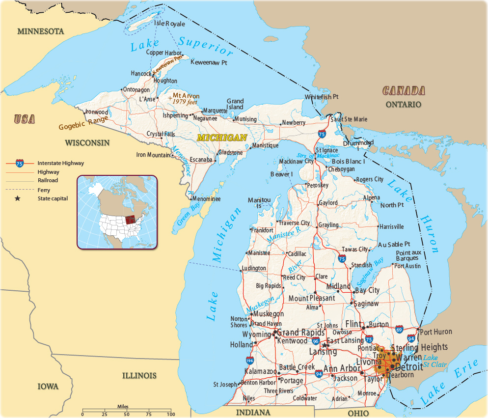 Map Of Michigan Canada Map of Michigan   USA