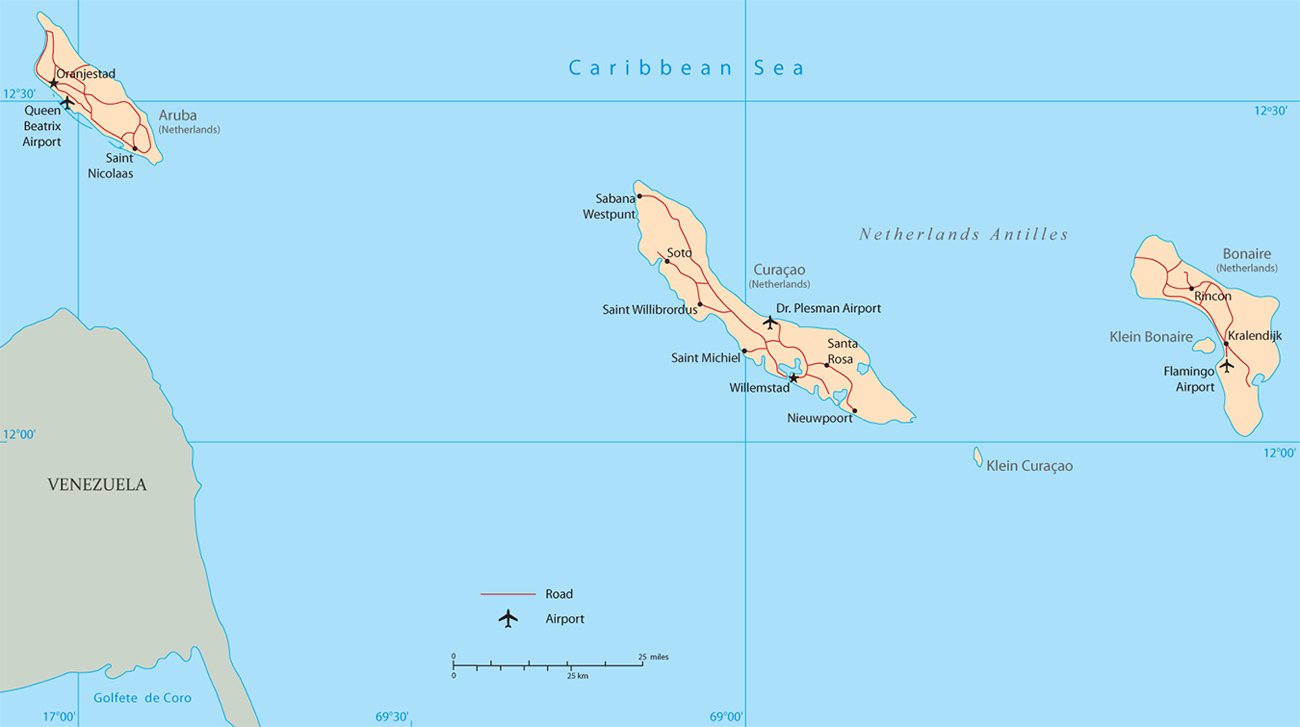 Map Of Netherlands Antilles Willemstad Curaçao Bonaire Sint - Map of netherlands antilles world