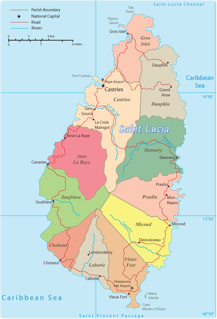 Political Map Of Saint Lucia Castries Soufriere - Saint lucia map