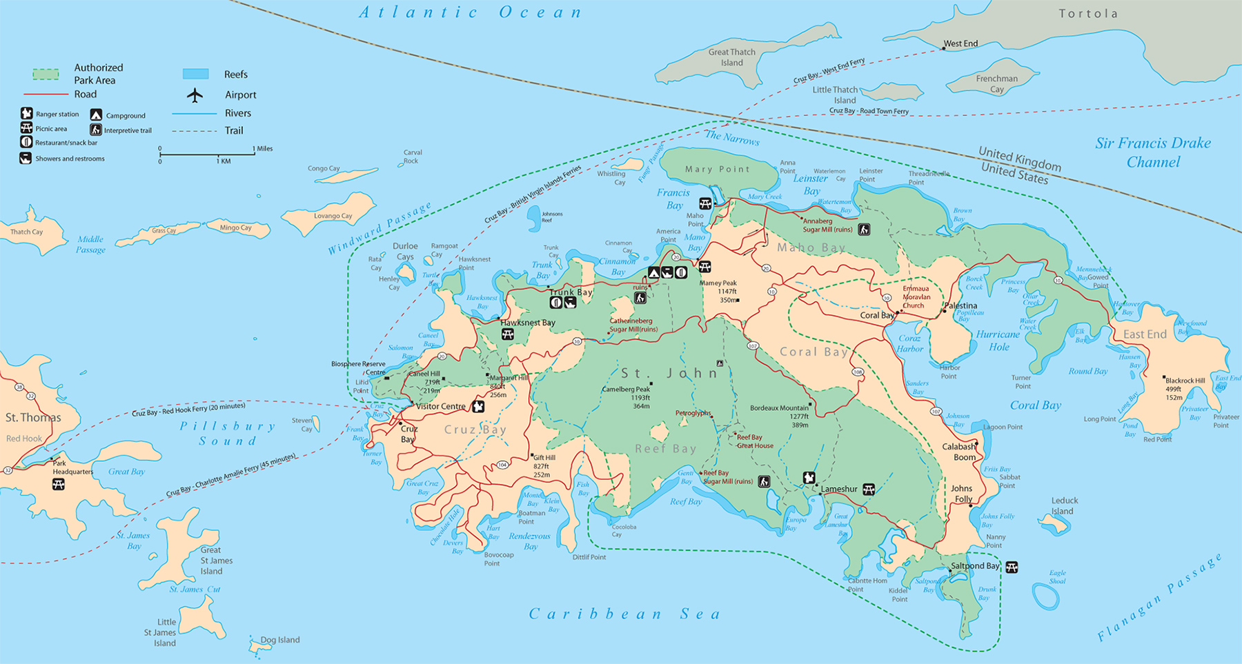 Map of Saint John Virgin Islands