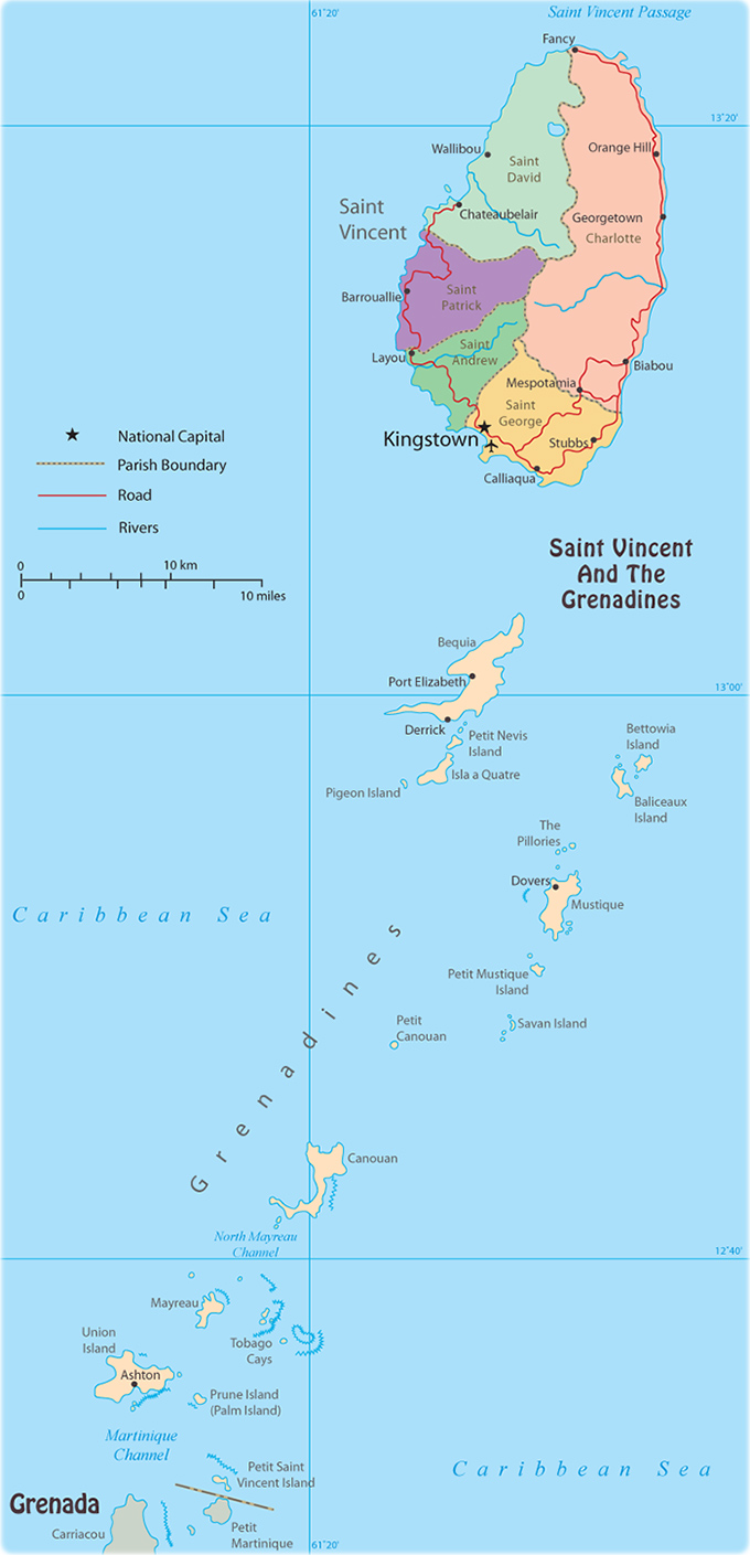 Map of Saint Vincent Grenadines Kingstown