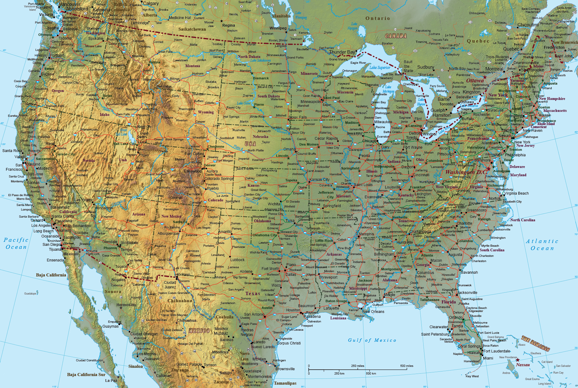 Picture of: Physical Map Of Unted States