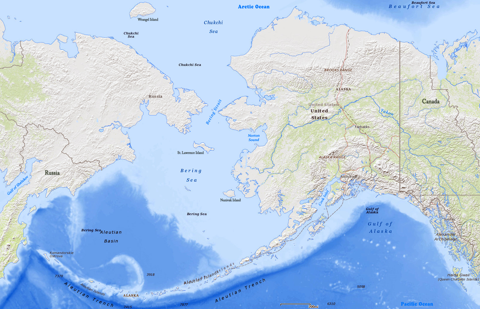 Picture of: Map Of Alaska And Bering Sea