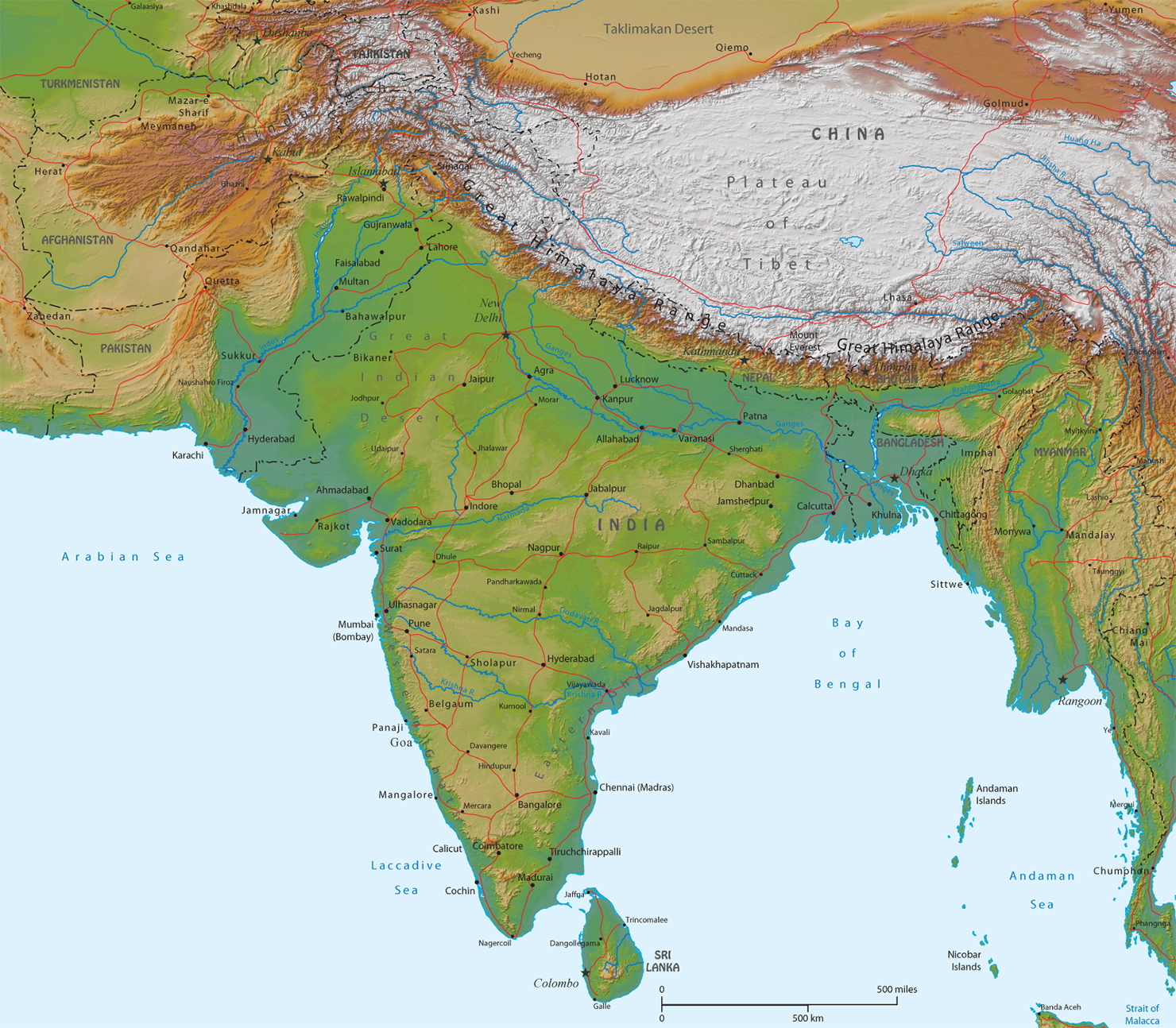 Physical Map of India   Asia