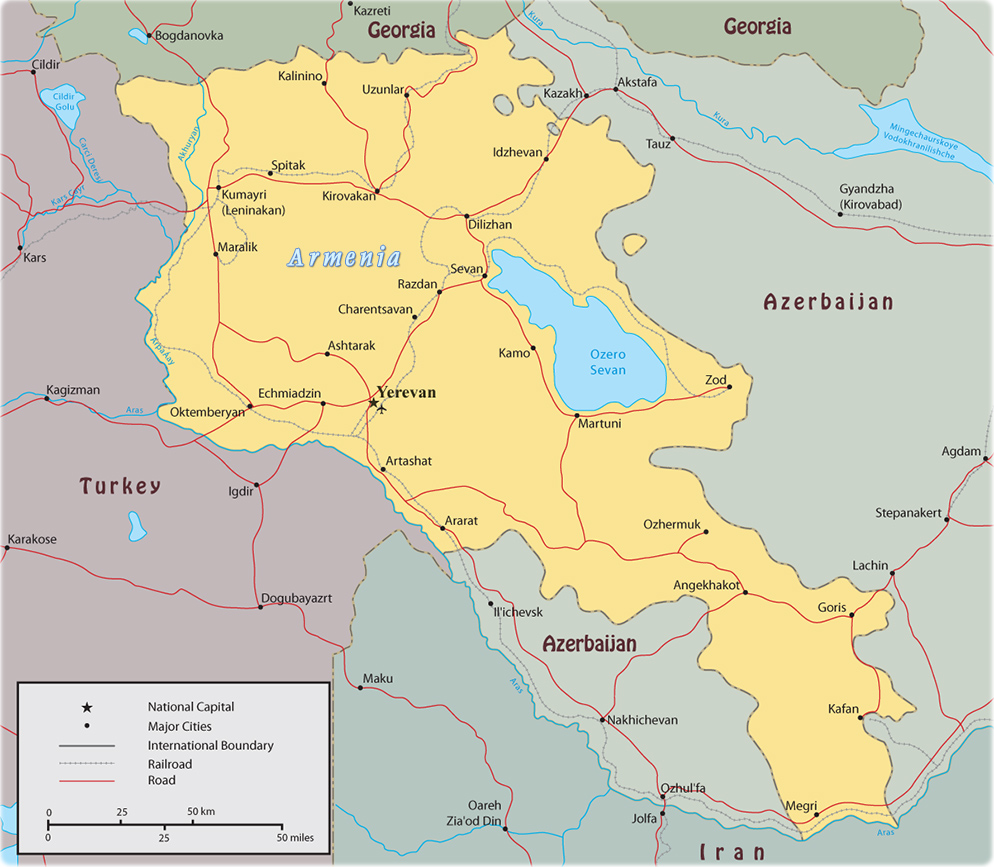 Map of Armenia Yerevan Asia