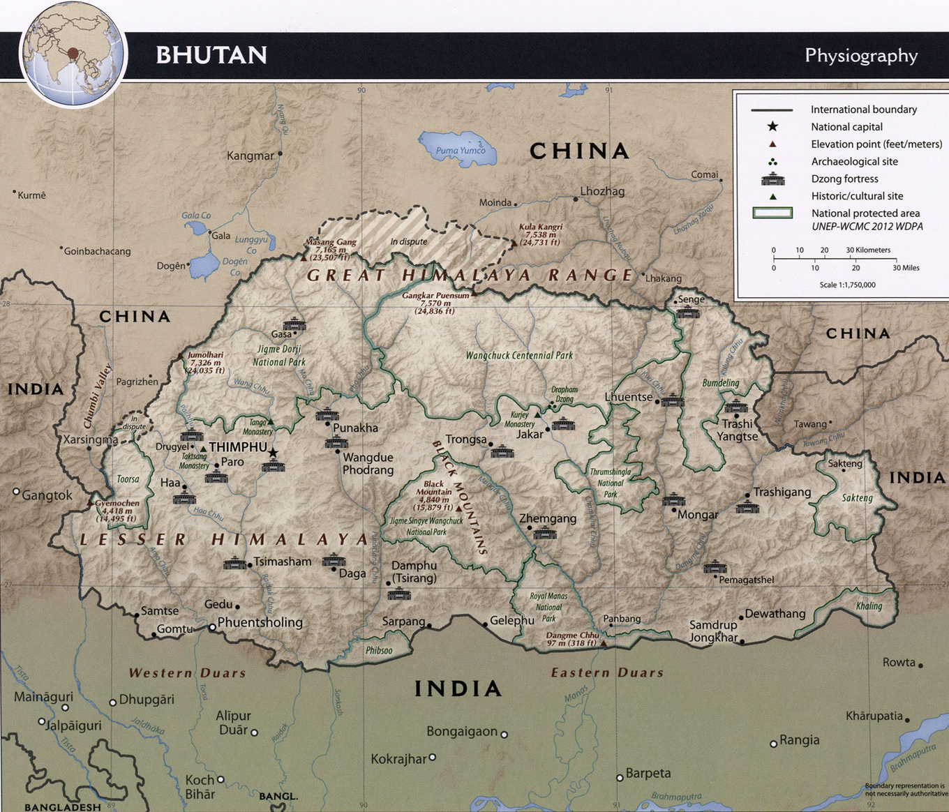 Bhutan Map Thimphu Himalayas Asia - Map of bhutan