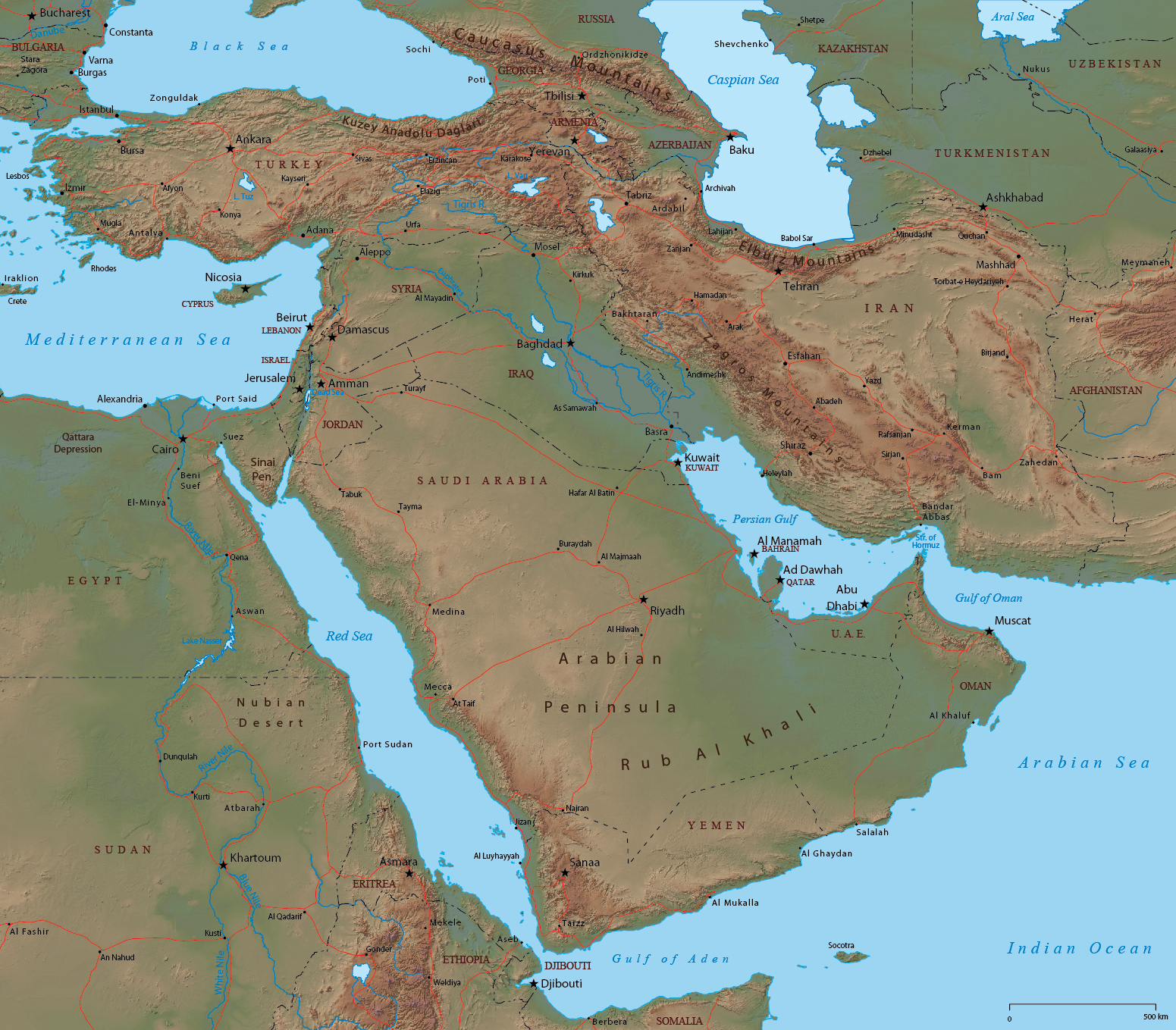 Map of Land locked Middle Eastern Countries