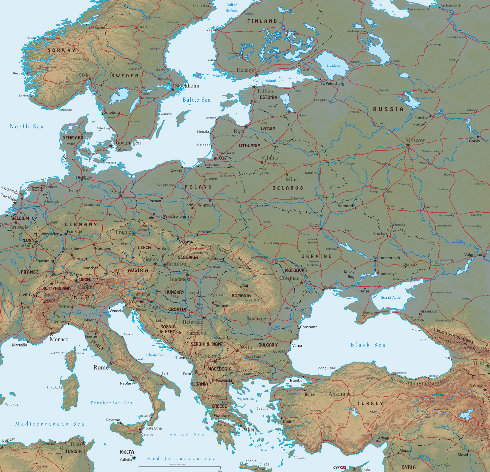 Europe Physical Map Rivers And Mountains The Image Kid Has