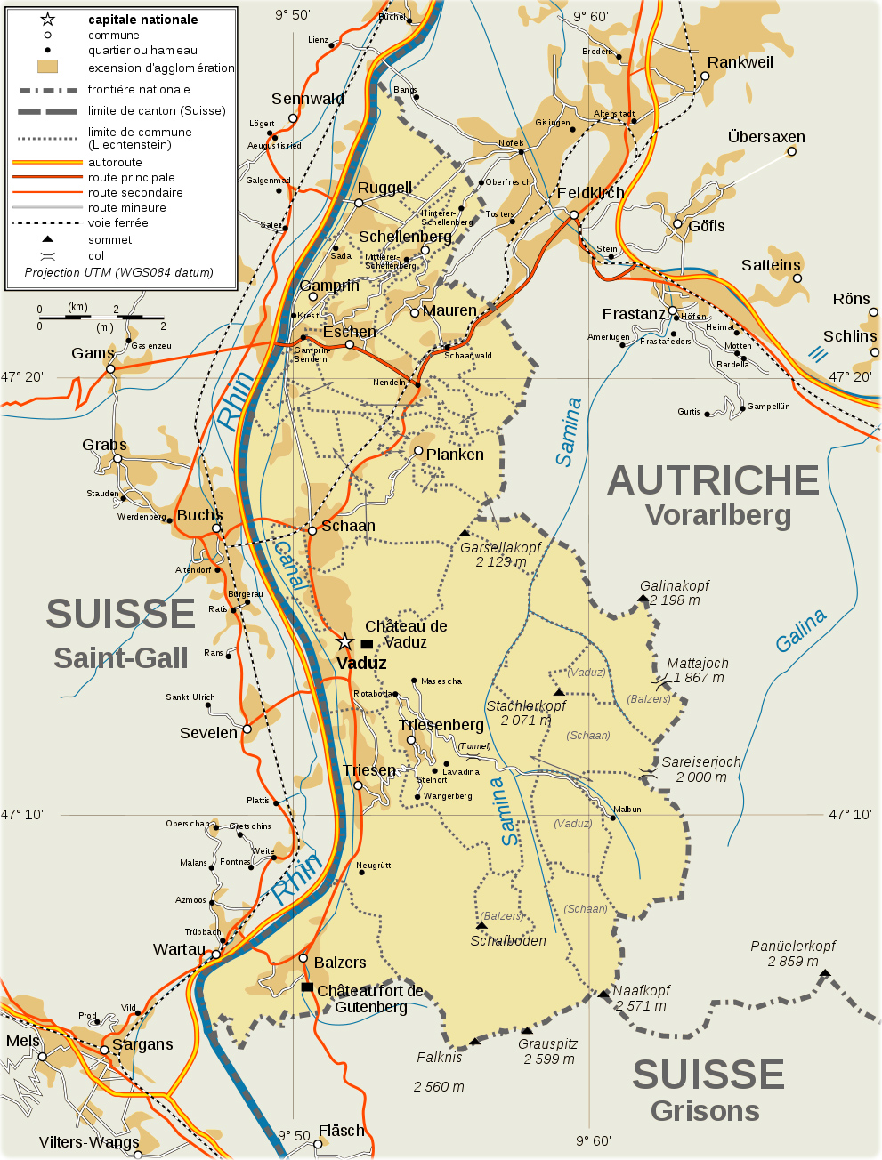 Map Liechtenstein Travel Europe - Liechtenstein map
