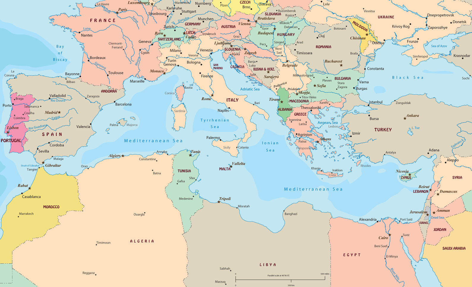 europe and the mediterranean map Political Map of Mediterranean Sea Region