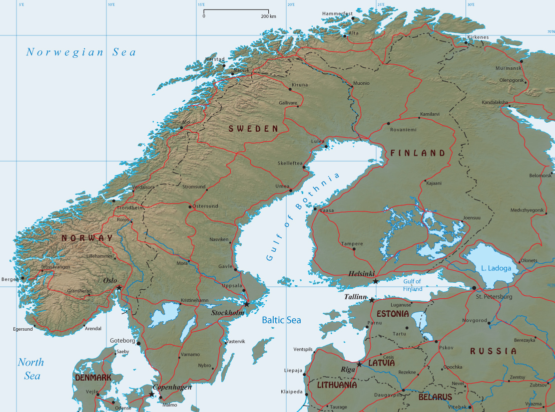 Map Scandinavia Travel Guide Denmark Sweden Iceland - Map of scandinavia