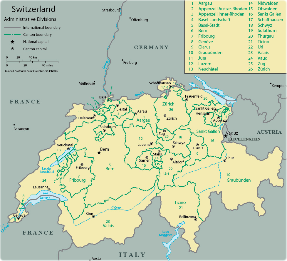 Map Switzerland   Travel Europe