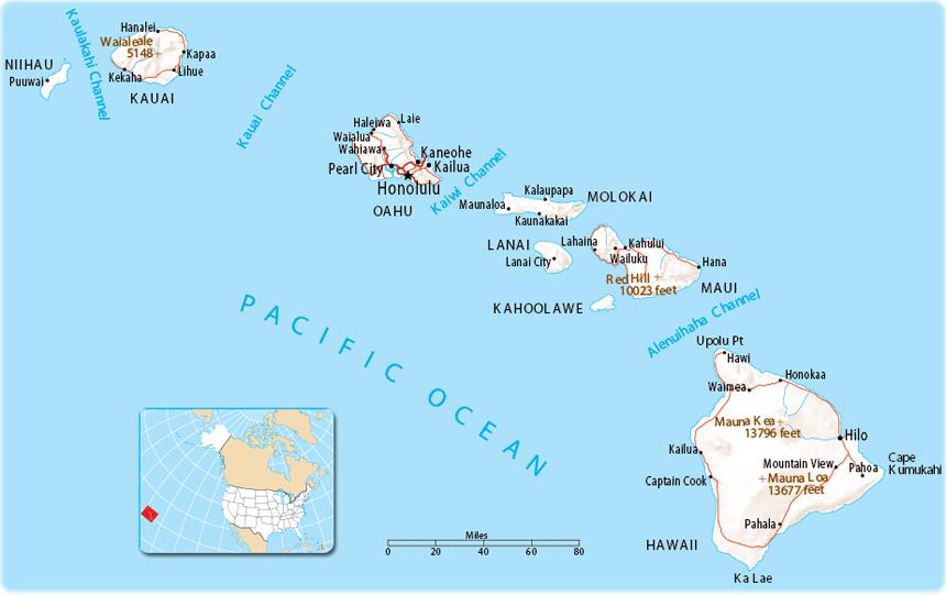 Map of Hawaii - USA