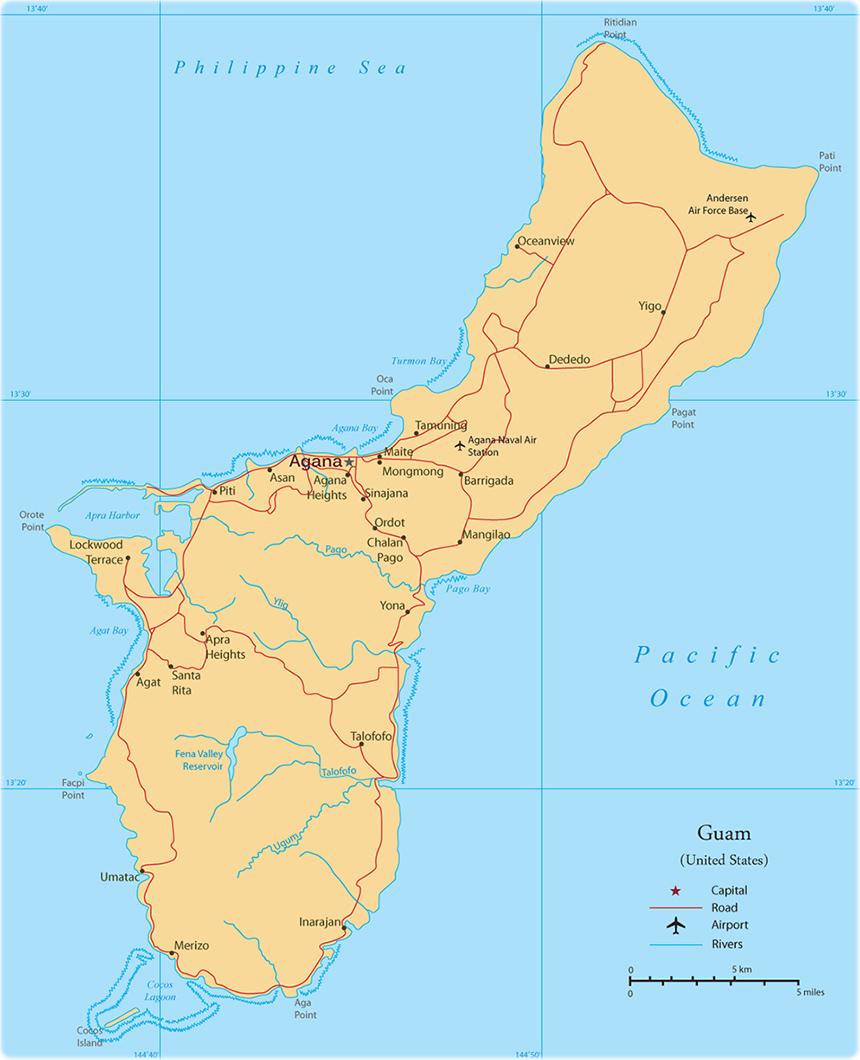 Guam - Map of guam