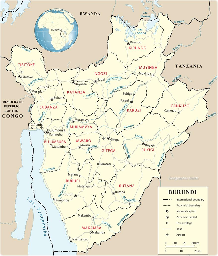 Map of Burundi Travel Africa