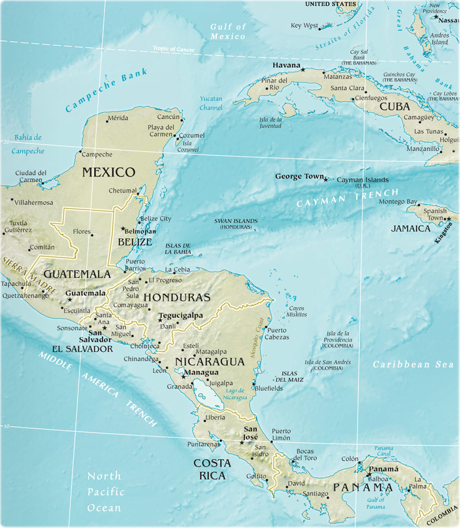 Map Of Central America - Usa map with rivers and lakes