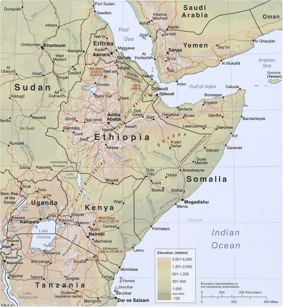 Map of the Horn of Africa Somalia Ethiopia