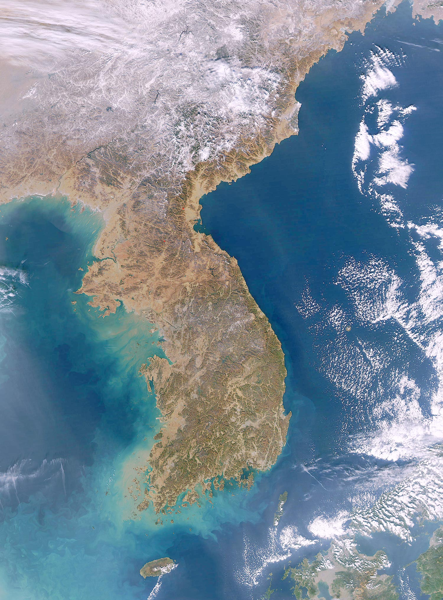 South and North Korea Satellite Image
