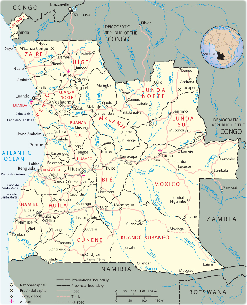 Map of Angola   Travel Africa