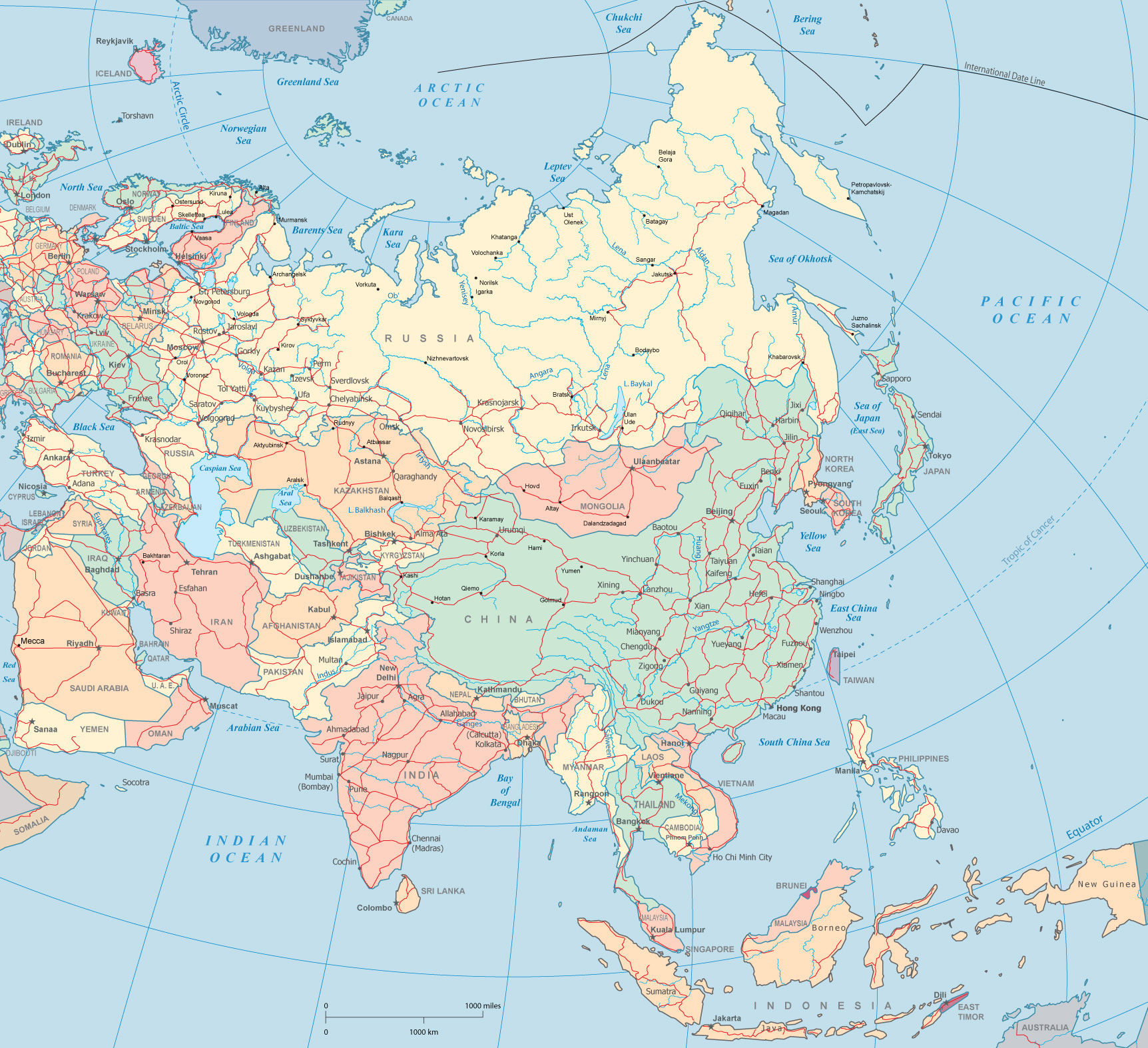 Location Of Asia In World Map.Map Asia India China Japan