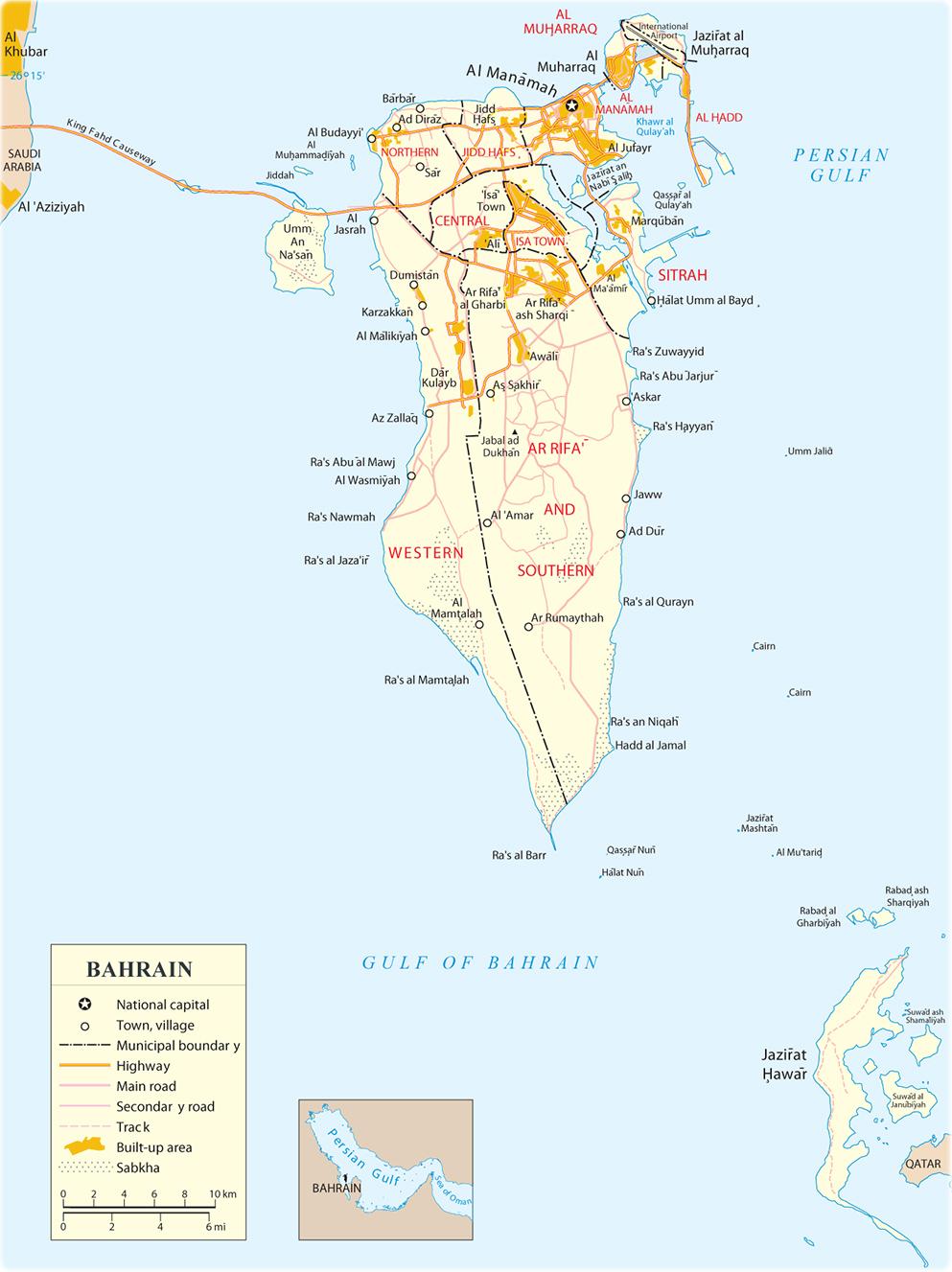 Bahrain Map Manama Asia