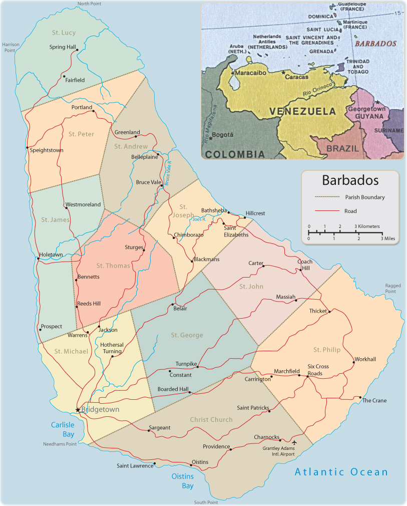 Map of Barbados Bridgetown