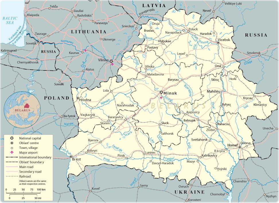 Map Belarus Travel Europe