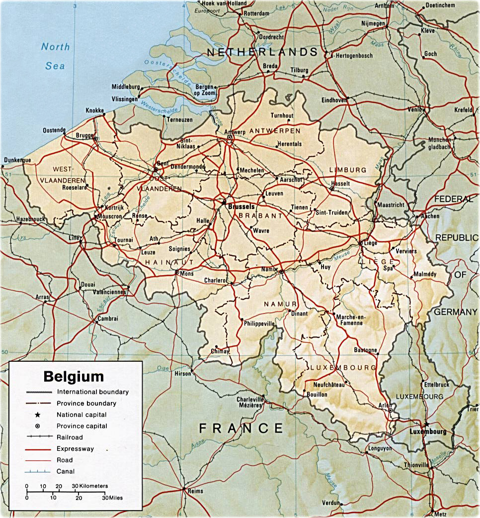 Favori Map Belgium - Travel Europe HV82
