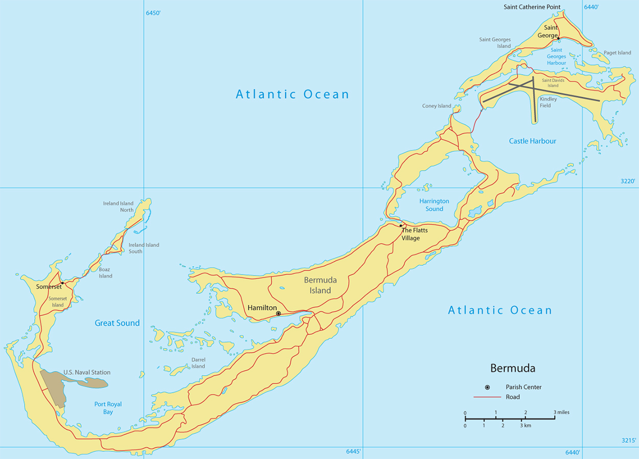 Map of Bermuda, Hamilton