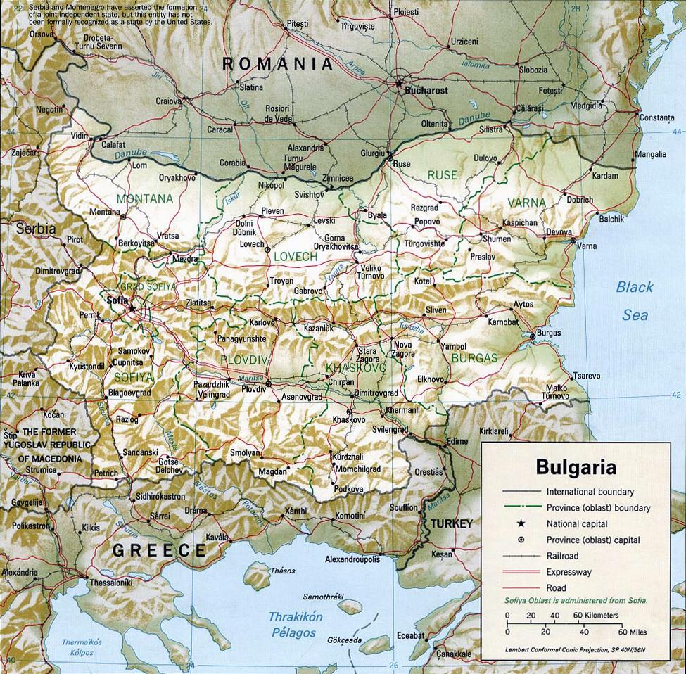 Map Bulgaria Travel Europe