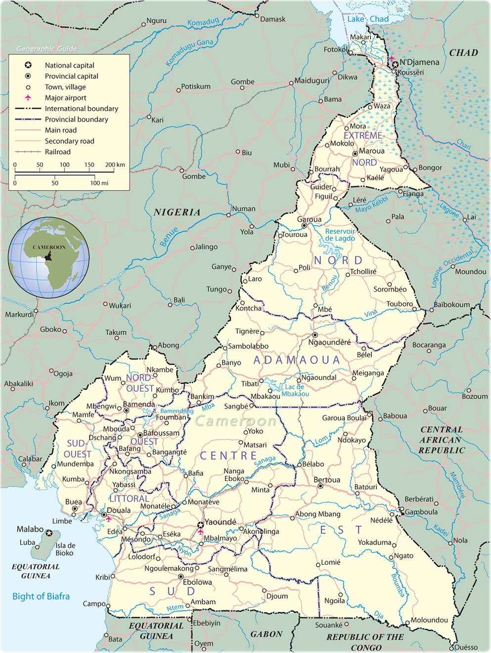 Map of Cameroon   Travel Africa