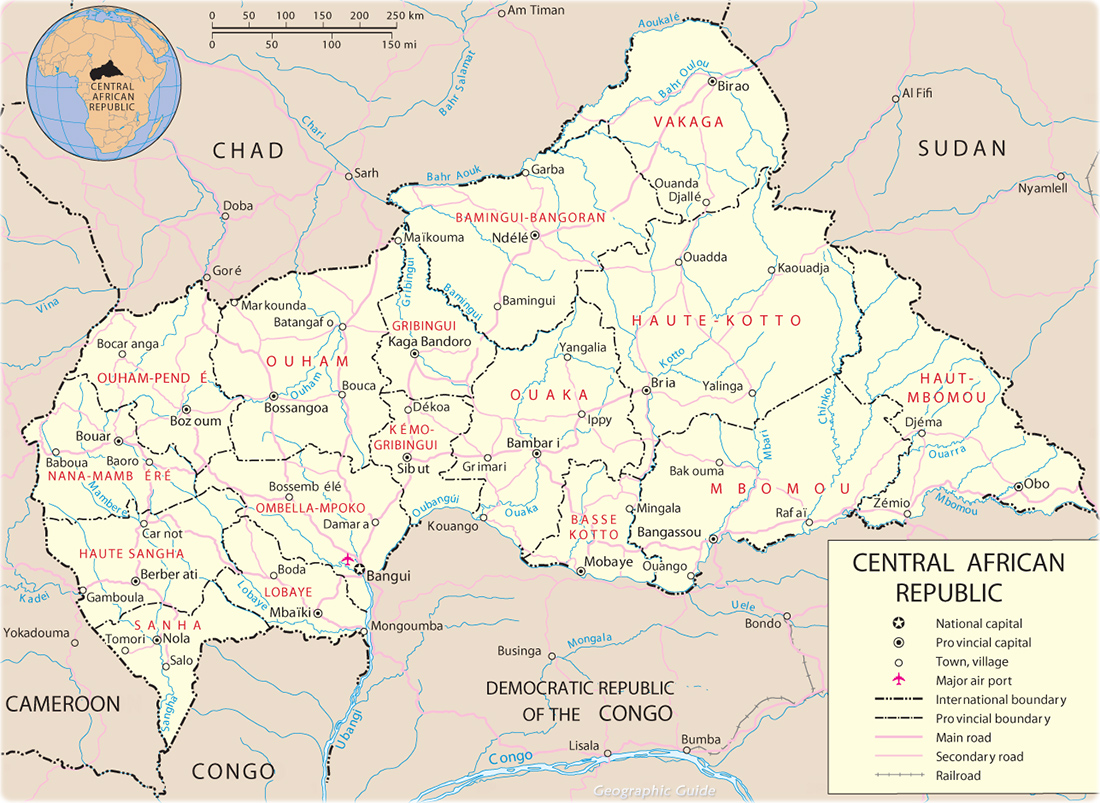 Map of Central African Republic Travel Africa