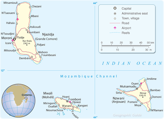 Map of Comoros Islands Travel Africa