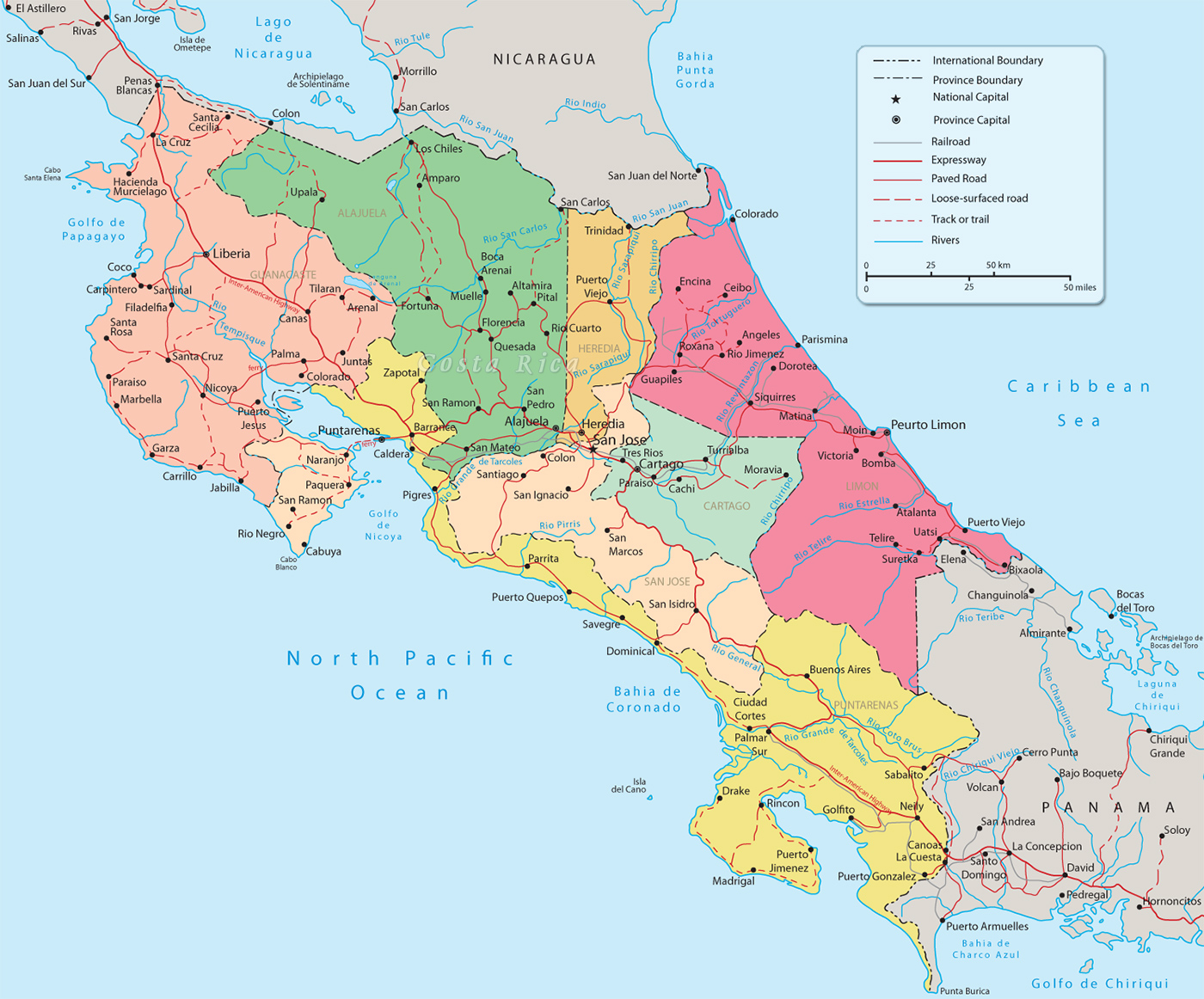 Map of Costa Rica San Jose – Tourist Map Of Costa Rica